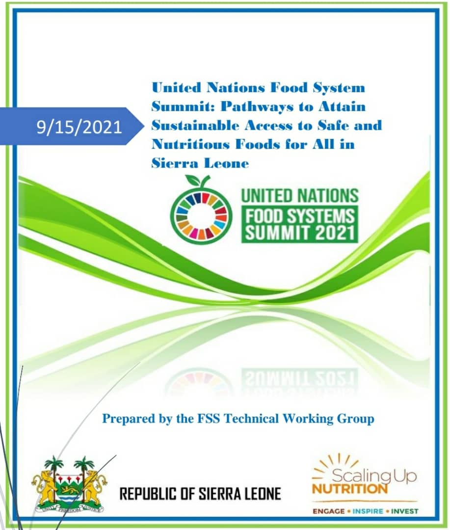 United Nations Food System Summit: Pathways to Attain Sustainable Access to Safe and Nutritious Foods for All in Sierra Leone.